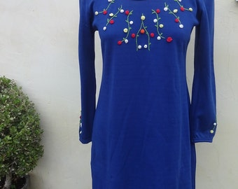 Vintage Blue Hand Embroidered Poly Dress 1960's Size S