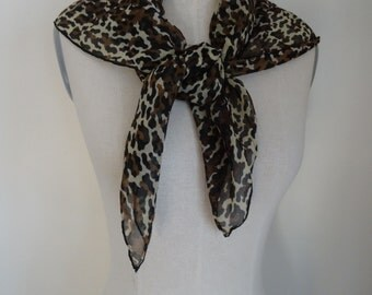 Vintage 60's Scarf Rayon Leopard Print Large Hand Rolled Chic Hipster Scarf