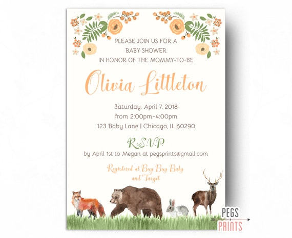 Woodland baby shower invites forest friends baby shower invitation il570xn stopboris Choice Image