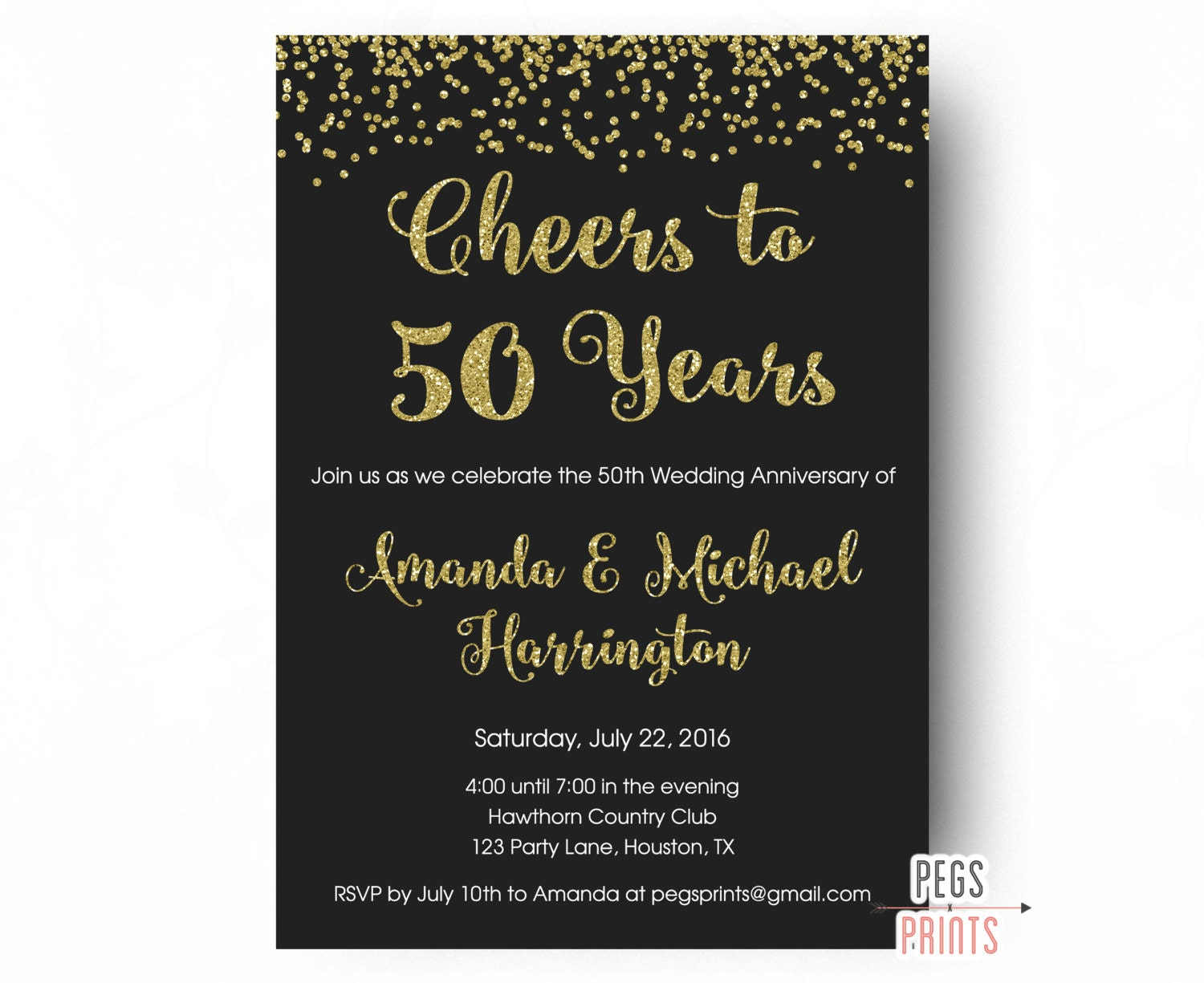 50th Wedding Invitation Templates: Cheers To 50 Years Invitation 50th Anniversary Invitation