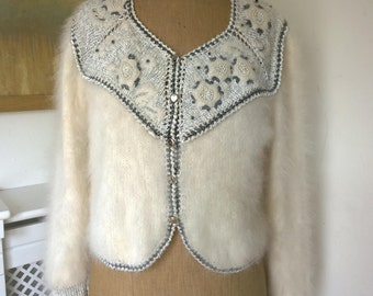 Anny Blatt Handknit Cardigan / Pelican Vest / sample