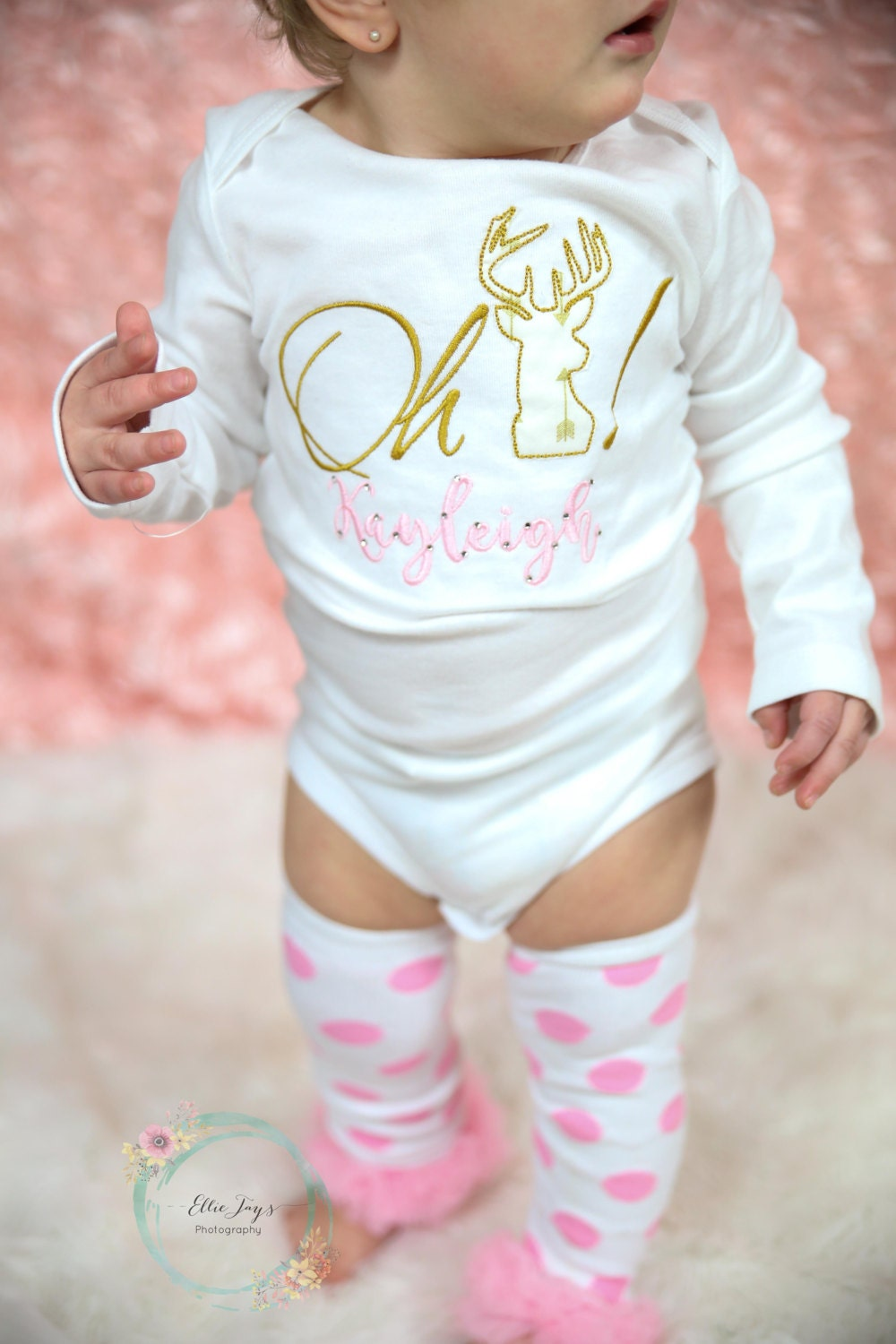 Girls Oh Deer Shirt Or Bodysuit Girl Pink And Gold