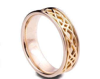 Celtic Wedding Band , 18K Gold Wedding Band, Two Tone wedding Ring, two tone Celtic ring, Two tone Celtic wedding band, mens wedding band, 9
