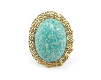 Vintage Amazonite Stone Brooch, Pendant, Gold Filled, Green Speckled Stone, Filigree Frame, Signed, H.G. 1/20-12K G.F.