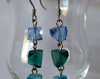 Light Blue and Teal Faceted Earrings