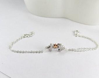 Dog Lover Bracelet, 2 Dog Jewelry,Pet Bracelet,Personalized Dog Bracelet, Personalized Initial Dog Charm, Gold & Silver, Initial Pet Jewelry