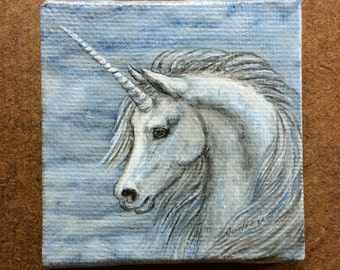 WHITE UNICORN FACE Original Miniature Oil Painting on Canvas by Audrey Rawlings Arena