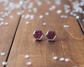 Mixed colors Hexagon glitter Stud Earrings, sparkling posts, CuteBirdie