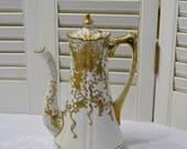 Vintage Chikusa Chocolate Pot White Raised Gold Floral Ornate Design Nippon Hand Painted PanchosPorch