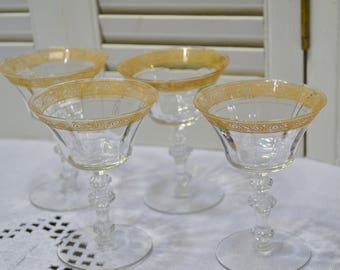 Vintage Wine Glass Set of 4  Ornate Gold Rim Crystal Stemware Glassware PanchosPorch