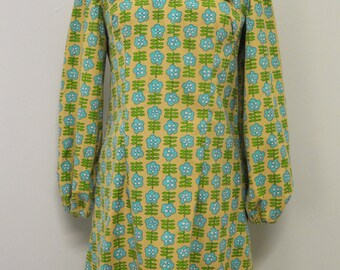 Vintage 1970's Handmade Drill Cotton Dress with Retro Flower Print