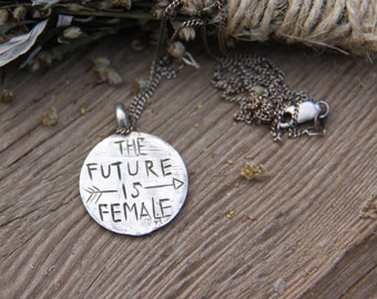 FUTURE IS FEMALE necklace sterling silver womens march necklace