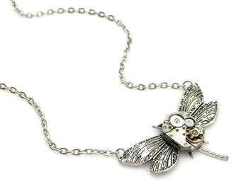 Antiqued Silver Dragonfly Pendant - mechanical clockwork dragonfly necklace Steampunk Gift Idea