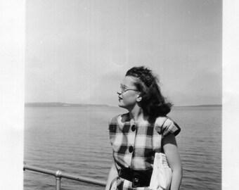 Vintage Photo..Windswept, 1950's Original Found Photo, Vernacular Photography