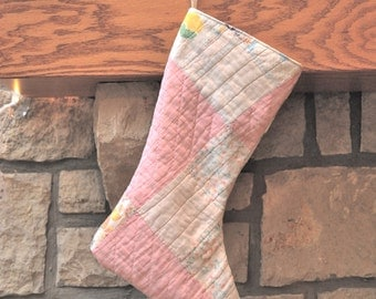 Vintage Christmas Stocking Farmhouse Christmas- Double Sided- Recycled Quilts--Antique Quilt-Old Quilt Stocking