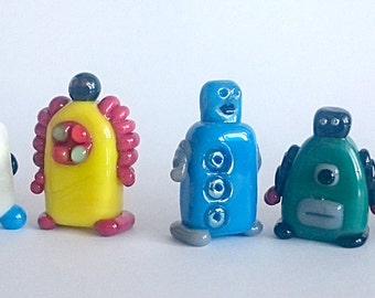 ROBOTs! Sculpture/ Miniature/ Gift / Player Marker by Jenefer Ham Board Game Glass