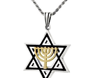 Sterling Silver Gold Star Of David Men Pendant Holy Temple Menorah Judaica Necklace