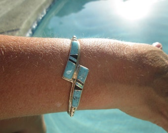 Turquoise, Black Onyx, Opal and Sterling Inlay Cuff Bracelet