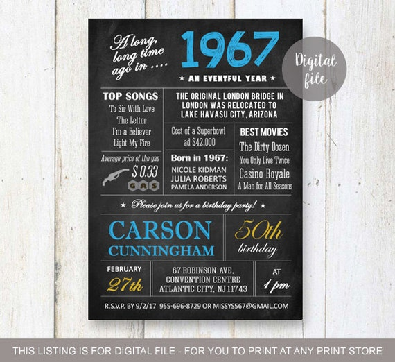 50th Birthday Invitation For Men Chalkboard Invitation For