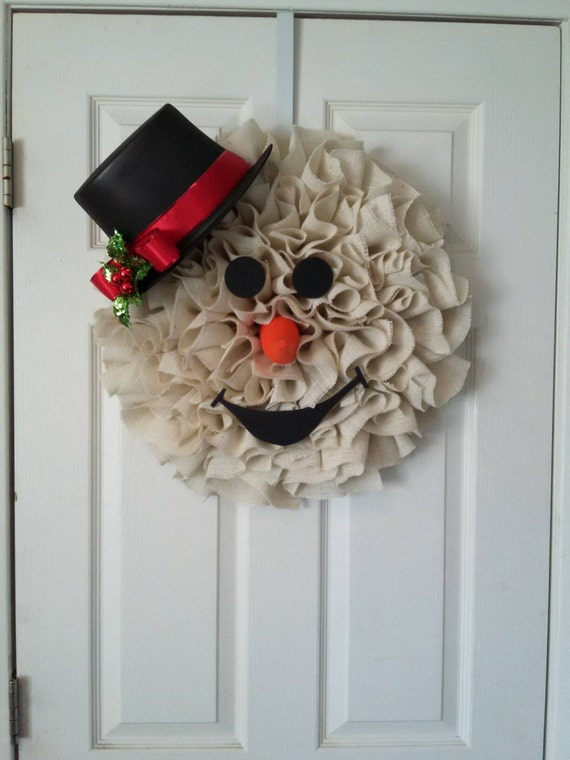 Snowman wreath burlap snowman wreath by for Snowman made out of burlap