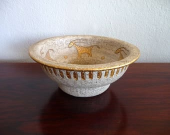 Bitossi Cave Painting Bowl Mid Century Modern Italian Pottery