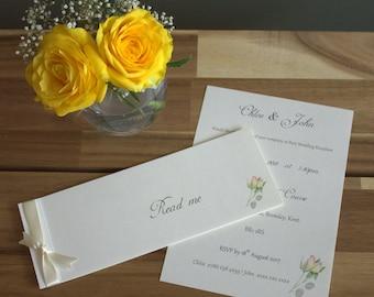 Ivory Cream Rose Cheque Book Wedding Invitation Booklet / Sample