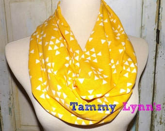 Mustard and White Triangle Print Infinity Scarf Jersey Knit Women's Accessories