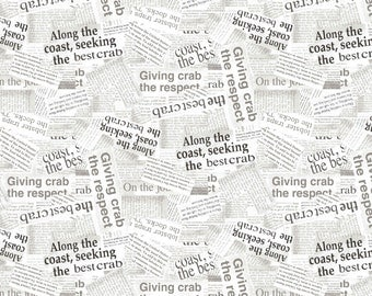 Crab News Fabric, Newspaper Fabric - Crab Shack by TwoCanArt for Andover Fabrics 8318 C Digital Print - Priced by the 1/2 Yard
