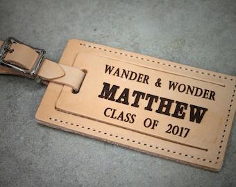 Graduation gift, Custom luggage tag, Travel Gift, Engraved luggage tag, leather luggage tag, vacation gift, Gift Boxed Free!