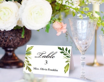 Wedding Place Card Printable Template - Place Cards - Escort Cards - Editable DIY Place Cards - Table Cards - Instant Download Simple Greens
