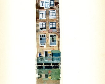 Amsterdam Canal House. Tipped Book Plate. Edward Penfield. Holland. 1907