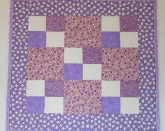 "Doll Quilt, 18"" x 19.75"", Lavender, Birds, Flowers, Four Patch Quilt, Free Pillow"