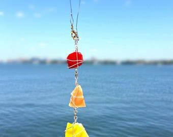 Zen Suncatcher - windchime - bell - zen - tranquility - sun catcher - wind chime - colored glass  - wirewrap - silver bell