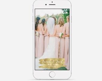 Gold Foil Wedding Snapchat Geofilter, Gold Wedding Filter, Metallic Snapchat Geofilter, Custom Wedding Geofilter, Gold Metallic Filter