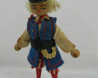 Vintage Wooden Doll Wood Figurine Germany Miniature German Wood Doll