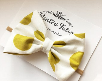 CLEARANCE Oversized Mustard Yellow and White Polka Dot Print Bow On Headband or Hair Clip Baby Toddler Kids