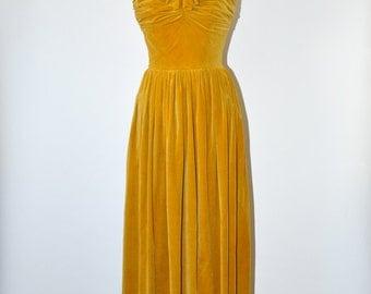30% OFF 50s velvet evening gown / 1950s mustard maxi dress / strapless long party dress