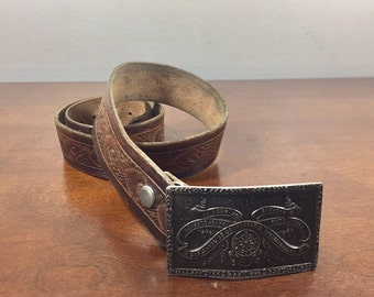 Tooled Leather Belt, Teamsters of America Buckle, Angels, Removable Buckle