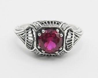 SALE Ruby Sterling Silver Ring Size 6.75/ Antique Vintage Edwardian Art Nouveau Filigree