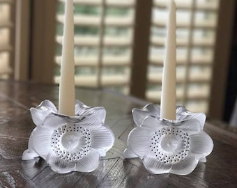 Pair of Lalique Three Anemones pattern (10922) Candle Holders in Perfect Mint Contition. Signed & Guaranteed Authentic.
