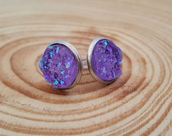 Sparkling Druzy Stud Earring in Stainless Steel | Your choice of 8 Colors | 12 mm Faux Druzy Earrings | Hypoallergenic