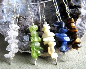 Earrings gemstone chips, one  quartz, peridot, mother of pearl, sodalite, tigereye, sterling silver, french earwires, length 1 7/8 inches.