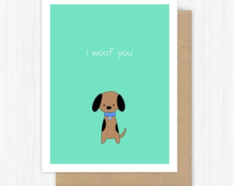 Funny Love Card For Boyfriend Girlfriend Husband Wife Dog Pun I Woof You Romantic Anniversary Birthday Handmade Greeting Cards Gifts Her Him