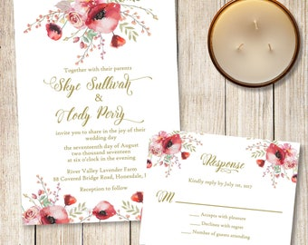 Poppy Wedding Invitation, Floral Wedding Invitation and Response, Boho Floral Wedding Invite, Red and Gold Wedding Suite, Red Poppies