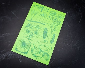 Bioluminescent Plants & Insects Softcover Journal | Screen Print Recycled Paper Botany, Bug Notebook Ecology Biology, Earth Day