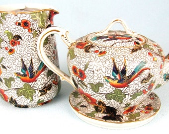 Stunning Antique Three Piece Set, Teapot, Stand and Water Pot, Losol Ware, Exotic Bird Design, Colorful Set, Afternoon Tea, Quality Antiques