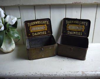Pair of Vintage Sweet Candy Tins - Turnwrights Danties 1920s
