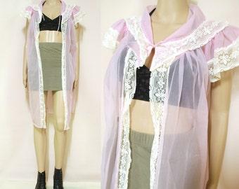Vintage 70s Sheer Lace Nightie Jacket Pastel Purple Lingerie Negligee Boho Hippie Vtg Retro 1970s Free Size
