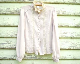 Vintage 70s Lace Blouse Sheer Hippie Retro Shirt Pastel Beige Pink Panelled Ruffled Collar Vtg 1970s Size S-M