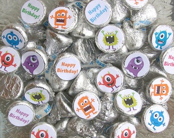 Monster Birthday, Candy Labels, Candy Stickers, Monster Party Favors, Printed Stickers